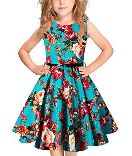 Idgreatim ragazzas Abito Senza Maniche 50s Vintage Swing Rockabilly Toddler Vestito Stampa Floreale Abiti da Festa retrò con Cintura