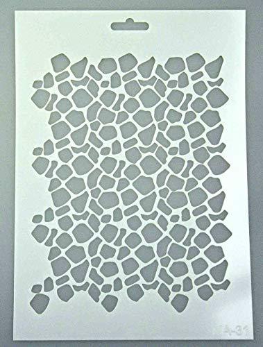 Schablone zum Malen und Zeichnen A4, 21 x 29 cm, Stencil, wiederverwendbar, Motiv Wüste, Steine, Haut, Drache, Schlange, Abstrakt