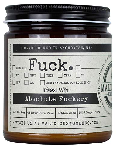Malicious Women Candle Co - All The Fucks, Oakmoss & Amber Infused with Absolute Fuckery, All-Natural Organic Soy Candle, 9 oz