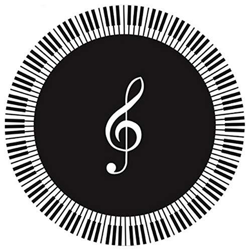 SODIAL Alfombra SíMbolo de MúSica Teclas del Piano Alfombra Redonda Blanca Negra Alfombra Antideslizante Hogar Dormitorio Alfombrilla DecoracióN del Piso