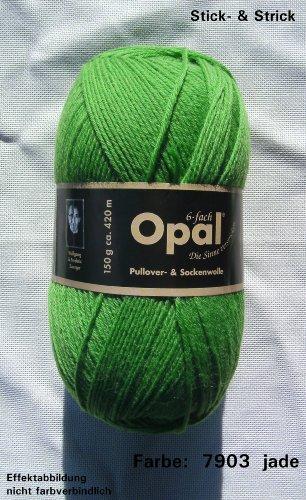 150 gr. Opal Uni Farbe 7903 grasgrün, 6-fach, Brandneu, Sockenwolle, Strumpfwolle