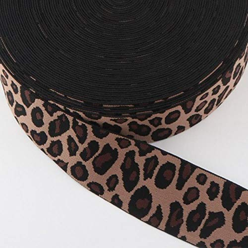 Veerkrachtige luipaard elastische elastiekjes 25mm formaat past broek intieme DIY naaien accessoires,zwarte koffie