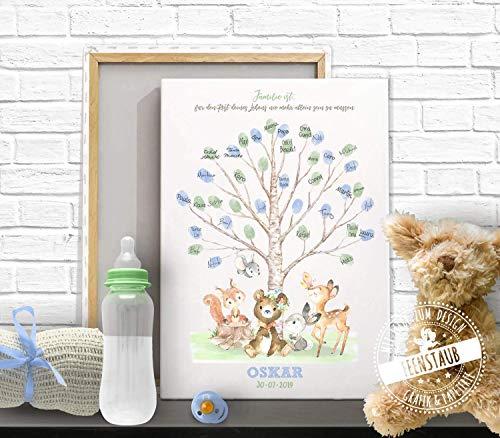 Taufbaum mit Tieren, Gästebuch Fingerabdruck-bild für Taufe, Baby-shower Baby-party, Leinwand