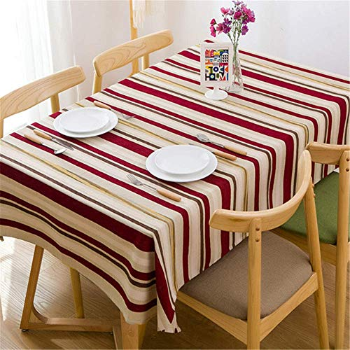 NCHEOI Mantel Mesa Restaurantes Comedor Mantel a Rayas Mantel a Rayas Mantel de algodón Simple Uso Interior y al Aire Libre,Mantel a Rayas Moderno Simple A-2 130 * 180cm