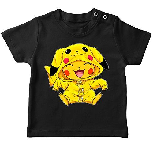 Okiwoki T-Shirt bébé Noir Parodie Pokémon - Pikachu Cosplayé en. Pikachu ! - Imbattable dans Les Concours de Cosplay. : (T-Shirt de qualité Premium de Taille 6 Mois - imprimé en France)