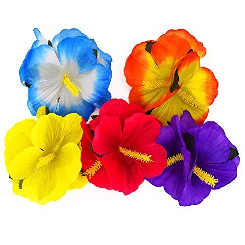 WJBB 24 Pieces Hawaiian Themed Flower Clips Hair Accessories Hair Barrettes Fake Artificial Silk Tropical Hibiscus Flower Hair Clips