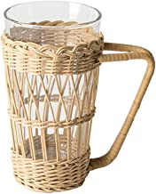 ABOOFAN Vintage Rustic Hand- Woven Rattan Cup Holder Drink Mug Holder Stand Clear Glass Cup Holder with Handle for Coffee ...