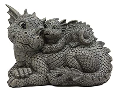 "Ebros Whimsical Piggyback Dragon Family Statue 10.25"" Long Faux Stone Resin Finish Mother and Baby Animated Dragons Welcome Guest Greeter Decor Figurine"