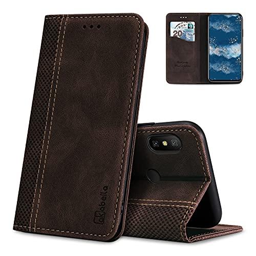 AKABEILA Hülle für Xiaomi Redmi 6 Pro/Mi A2 Lite Handyhülle Leder Flip Hülle Ständer PU Brieftasche Schutzhülle Klapphülle Tasche Hülle mit [Kartenfach] [Standfunktion] [Magnetisch]