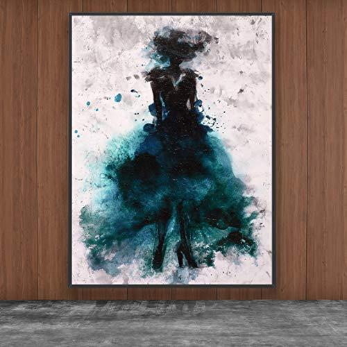 Danjiao Gemalte Ballerina Frau Abstraktes Ölgemälde Ballett Mädchen Wandmalerei Multi Poster Print Dekor Wandkunst Bilder Wohnzimmer 60x90cm