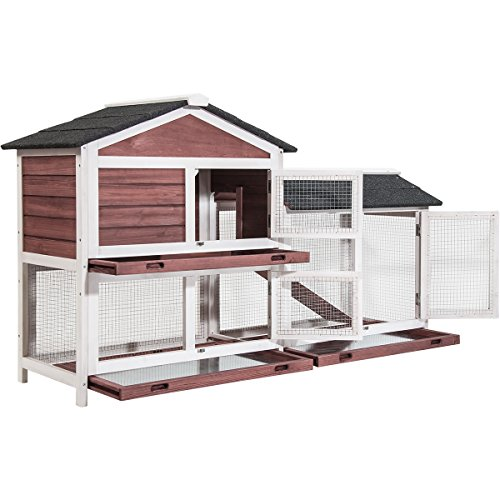 P PURLOVE Pet Rabbit Hutch Wooden Bunny Cage Small Animals House for Outdoor/Indoor Use (Red+White)