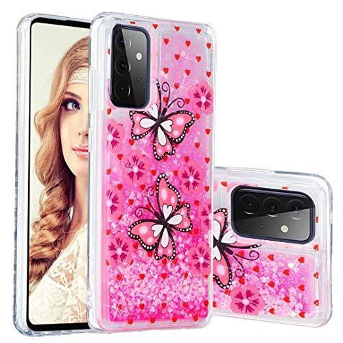 Miagon Flüssig Hülle für Samsung Galaxy A32 5G,Glitzer Weich Treibsand Handyhülle Glitter Quicksand Silikon TPU Bumper Schutzhülle Case Cover-Rosa Schmetterling