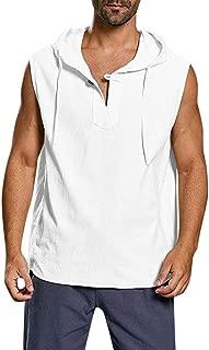 Men's Cotton Linen Shirts Solid Button Beach Sleeveless Hooded Tank Tops Blouse