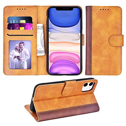 Adicase iPhone 11 Hülle Leder Wallet Tasche Flip Hülle Handyhülle Schutzhülle für Apple iPhone 11 (Braun Streifen)