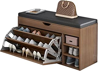 Yirunfa Banc de Rangement Chaussures 4 Niveaux, Banquette Rembourrée avec Étagères, Éponge Douce Confortable et Respirant...