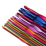 Luxbon 14 Sizes Multi-Coloured Aluminum 2mm-10mm Handle Crochet Hooks Knitting Knit Needles Weave Yarn Set