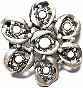 artigianale Hebilla para cinturón de 4 cm, flor de piedras blancas, color plateado antiguo, hebillas de metal o piedras o brillantes o esmaltes o cristales muranos y 1 llavero de 1 CC