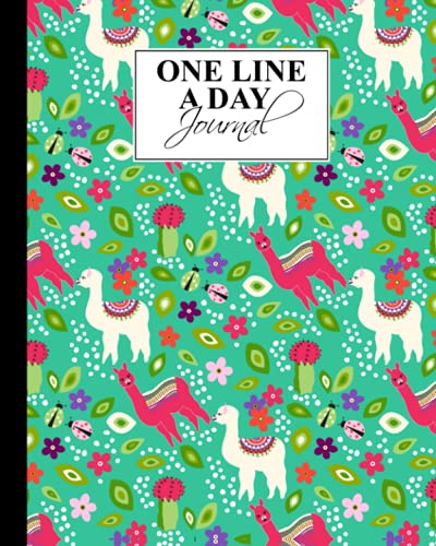 """One Line A Day: Cute Llama One Line A Day, A Five-Year Memory Book, 367 Pages, Size 8"""" x 10"""""""