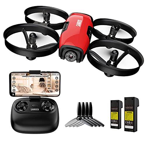 SANROCK Mini Drohne mit Kamera für Kinder Anfänger, RC Quadcopter mit 720P HD WiFi FPV Kamera, U61W Mini Drone Unterstützt Höhe halten, Routenerstellung, Headless-Modus, Not-Aus
