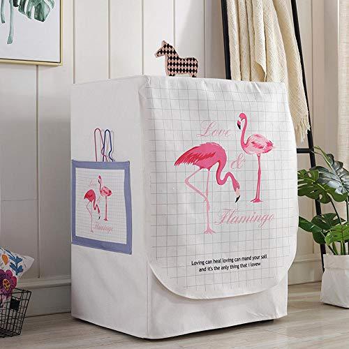 JRTILES Wasmachine Cover, Protector Cover Zonnebrandcrème Voor Voorlader Wasmachine & Droger, Stofbestendig En Anti-veroudering, Flamingo 60X60X83Cm