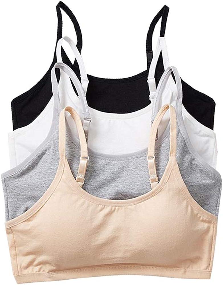 YUMILY Age 12-18 Girl's Adjustable Straps Training Bra with Padding Cotton Bralette Hooks Closure