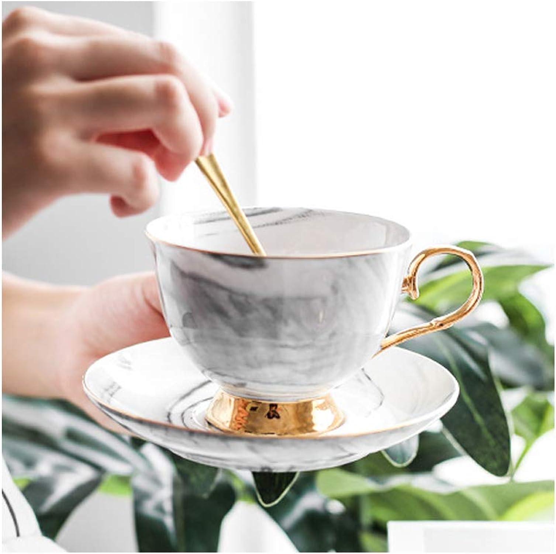 YLee Tasse à café en céramique Ensemble marbre Motif Phnom Penh Tasse à café en céramique Anglais après-midi thé Ensemble,noir
