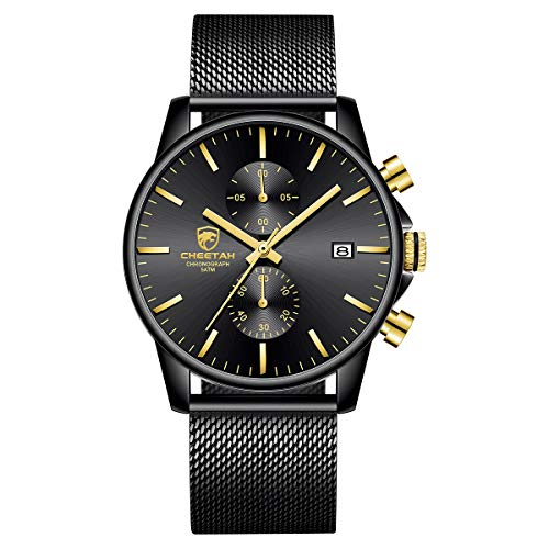 Men's Watch Fashion Sport Quartz Analog Mesh Stainless Steel Waterproof Chronograph Watches, Auto Date in Gold Hands, Color: Black