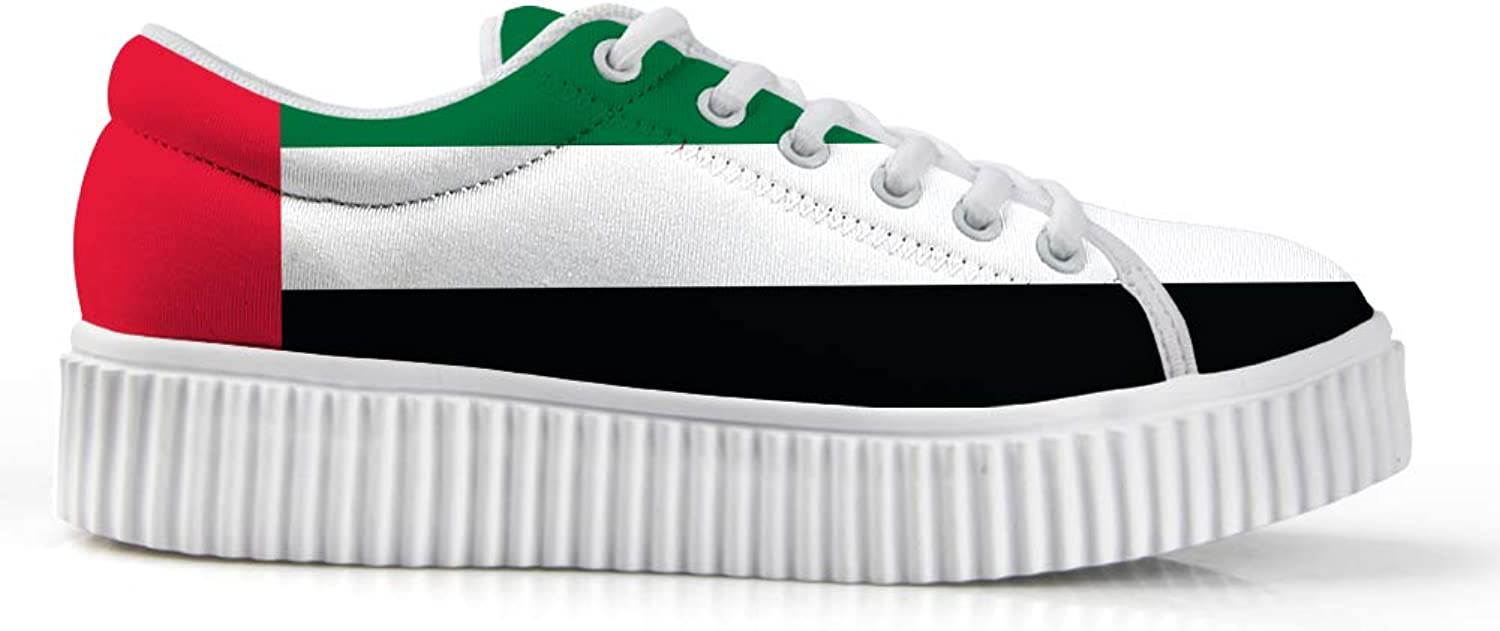 Owaheson Platform Lace up Sneaker Casual Chunky Walking shoes Low Top Women United Arab Emirates Flag