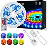 OUSFOT Led Strip Lights Kit 5050 RGB Color Changing 16.4 Feet Flexible Led Light Strip SMD with 44-Keys Remote Control Rope Light for Bedroom Kitchen Bar Party Holiday Decoration