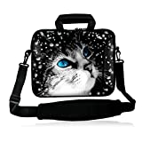 iColor 15' Laptop Shoulder Bag 14.1' 14.2' 15.6' Inch Neoprene Laptop Messenger Bag 15.4' Notebook Computer Dual Zipper Case Cover Pouch Holder Pocket -Cat Face