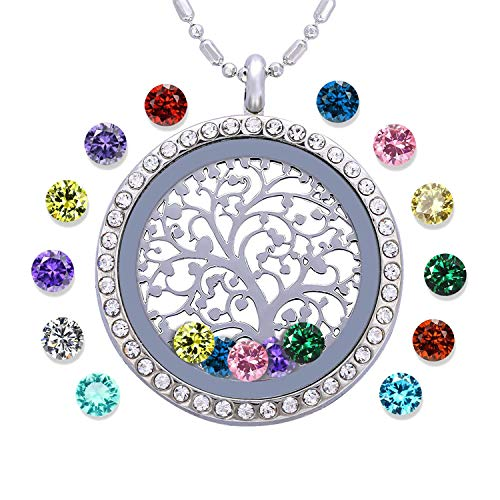 Family Tree of Life Birthstone Necklace Jewelry - Gifts for Mom Floating...