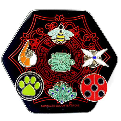 3dcrafter pins Set Suitable for Miraculos Costume in Present Hexagon Box. Lady bug cat Noir volpina Hawk Moth Peacock Turtle Queen bee
