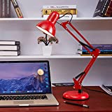 LRQY Retro LÁmpara De Escritorio Arquitecto con Metal Columpio del Brazo, Ajustable LÁmpara De Mesa De Lectura Sin Iluminador para Oficina, Sala, Estudio Y Dormitorio,Rojo