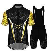 メンズサイクリングジャージー半袖サイクリングウェア+ストラップショーツサマーサイクリングチームユニフォームアウトドアスポーツウェアセットXSコードカラー102