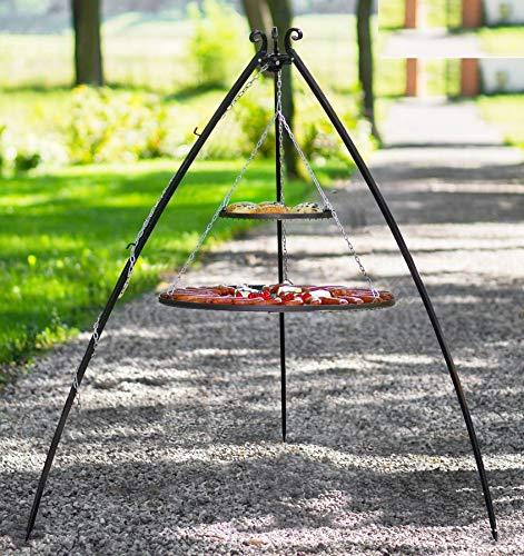 korono Barbecue suspendu solide Armature télescopique 200 cm & 2 sommiers 80 cm/40 cm barbecue de jardin en acier pour toutes les fêtes et réunions de Famille