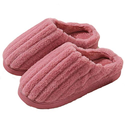 KIKIGO down slippers,Winter home non-slip thick-soled warm plush cotton slippers, indoor home comfortable soft slippers.-Skin red_40
