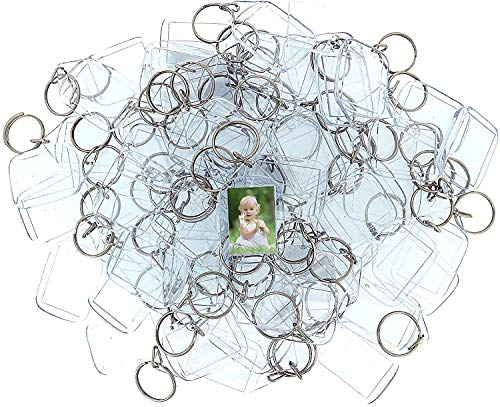 Hi Collie Clear Acrylic Photo Keychains (30 Pack) - 3.2 * 4.6cm Translucent Blank Keyring - Wallet Friendly Key Ring - Plastic Keychain Suitable for Men and Women