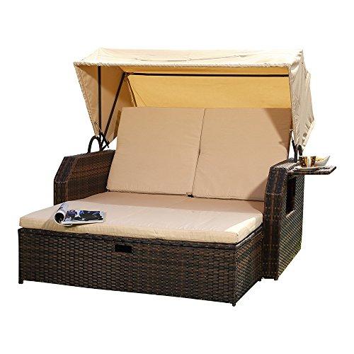 Melko Sonnenbett/Strandkorb/Lounge aus Polyrattan, Braun, inkl. klappbaren Seitentisch +verstellerbarer Rückenlehne + Faltbare Sonnenschutzdach