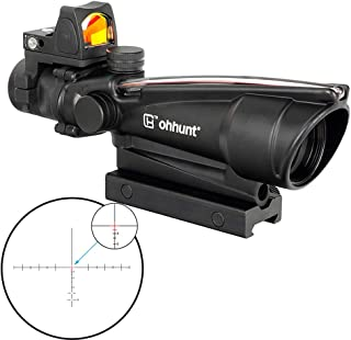 ohhunt 3.5X35 Rifle Scopes Real Fiber Illumination Reticlele Tactical Optics Scope with Push Button Switch Red Dot Sight