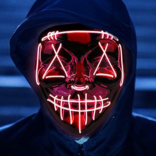 Molbory LED Purge Maske, Halloween Maske, LED Purge Maske im Dunkeln Leuchtend, LED Grusel Maske, Halloween Purge Maske mit 3 Beleuchtungsmodi für Halloween Cosplays Feste und Partys(Rot)