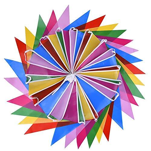 Bocotoer veelkleurige plastic wimpel dubbelzijdige slinger voor binnen en buiten party decoratie 36 voet