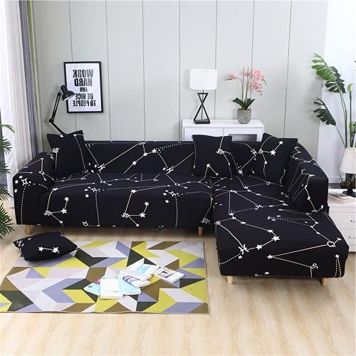 FENFANGAN Fundas para Sofa Chaise Longue elasticas, sofás de Esquina para Sala de Estar, Protector de sofá, Tela de Microfibra Estampada, Suave y cómoda sin decoloración (color15,4-Seater 230-290cm)