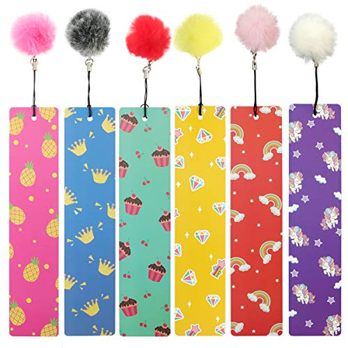 12 Pcs Bookmarks with Pom Pom, Cute Bookmarks for Girls, Women, Ladies, Children, Kids, Teens, Excellent Party Favors School Classroom Prize Reading Rewards, Gift Idea.