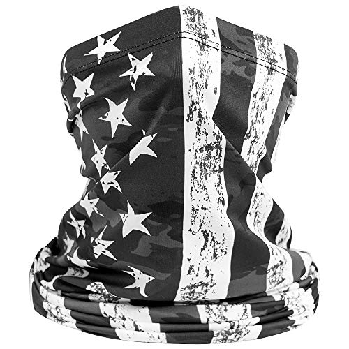 Neck Gaiter Face Mask UPF 50+ UV Sun Protection Buff Bandanna Rag Headwear Sun Mask for Men & Women for Fishing Hiking Hunting Kayaking Running Cycling Walking Fit to All - USA Flag Black Grey