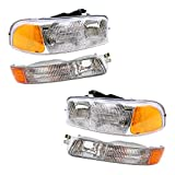 Aftermarket Replacement 4 Pc Set Halogen Headlights & Signal Marker Lamps Compatible with 1999-2007 Sierra...