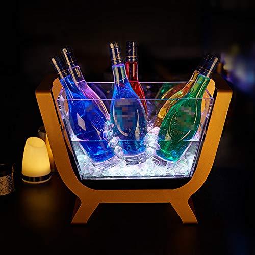 NAY Raffredda Bottiglie,Secchiello del Ghiaccio,Portaghiaccio Luminoso Acrilico Trasparente Ricaricabile A LED,per Champagne, Vino, Bevande, Stile retrò,White Light