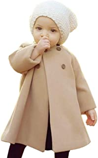 0-5T Autumn Winter Kids Baby Girls Solid Outerwear Cloak Cape Button Jacket Warm Fashion Woolen Coat Trench Clothes