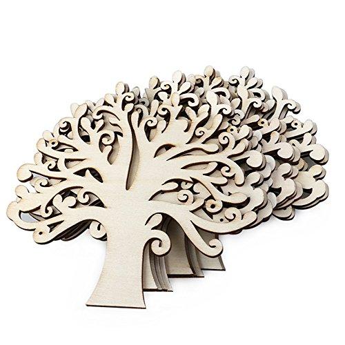 Wansan 10 Stück Holz Baumschmuck für DIY Handwerk perfekt für Stammbaum Hochzeit Holz Farbe