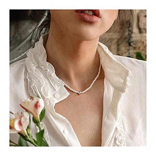 LPZW 2021 Fashion Pearl Bead Chain Choker Necklace For Women Simple Crystal Heart Pendant Elegant Vintage Necklaces Charm Jewelry (Metal Color : 3 VKA10830)