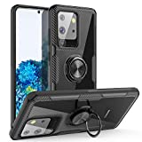 Galaxy S20 Ultra Case, Samsung Galaxy S20 Ultra Case,Carbon Fiber Design Anti-Fingerprints Crystal Clear Cover with Rotation Finger Ring Kickstand [Work with Magnetic Car Mount], Black
